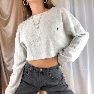 Ralph Lauren Knit Crop Sweater Beige Color Size M